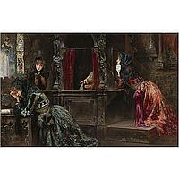 José Gallegos Cádiz 1859-Rome 1917 , Las Tres Gracias (The Three Graces) oil on panel