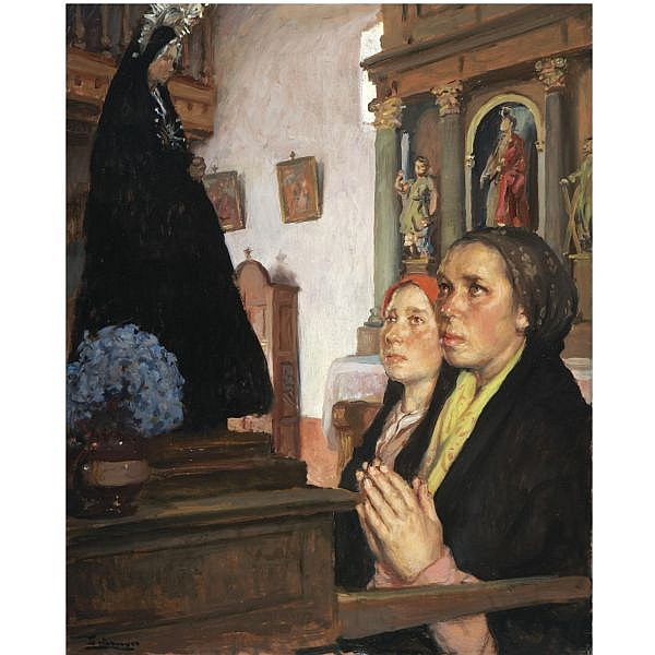 Fernando Álvarez de Sotomayor El Ferrol 1875-Madrid 1960 , Orando a la Dolorosa (Praying to the Dolorosa) oil on canvasboard