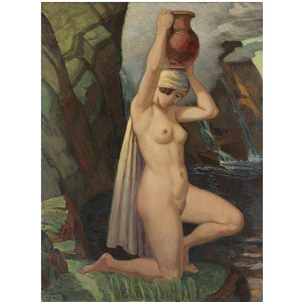 Ludwig von Hofmann German, 1861-1945 , Kniende mit Krug (kneeling nude with urn) oil on canvas