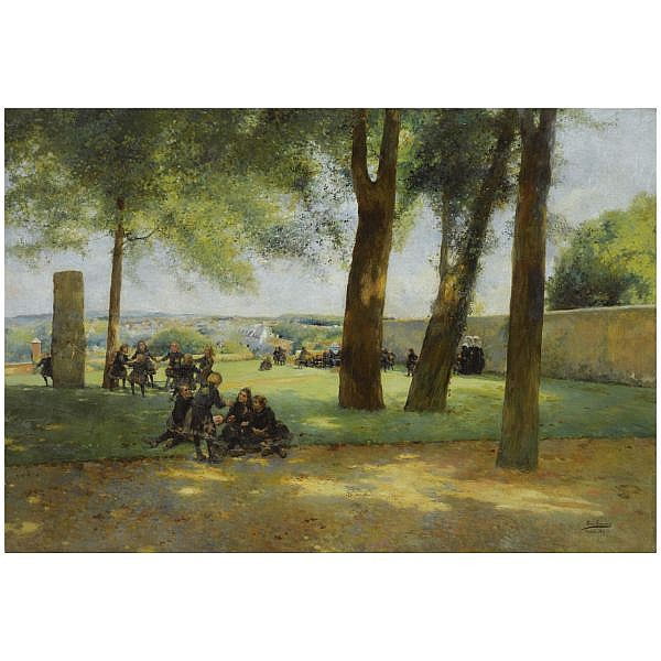 Luis Jiménez y Aranda Seville 1845-Pontoise 1928 , El Recreo (Playtime) oil on canvas