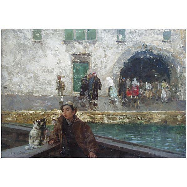 f - Mosè Bianchi Italian, 1840-1904 , Venetian Boatboy oil on panel
