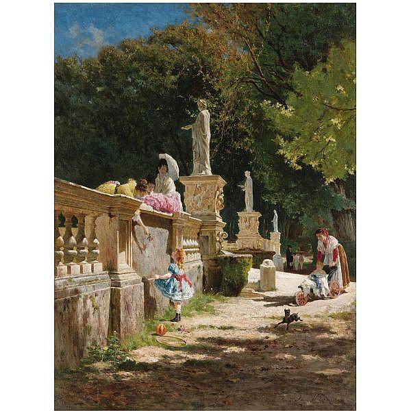 f - Aurelio Tiratelli Italian, 1842-1900 , In the Gardens of the Villa Borghese oil on panel