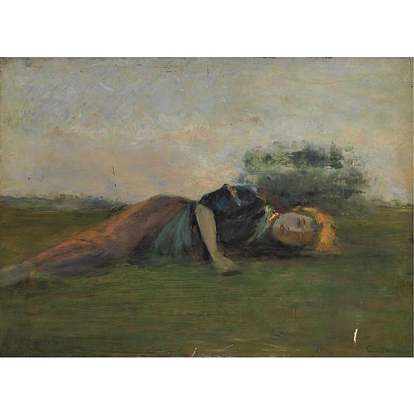 Cristiano Banti (Santa Croce sull'Arno 1824 - Montemurlo 1904) , sull'erba olio su tavola