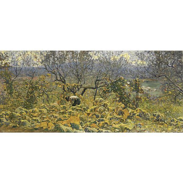 m - Ludovico Tommasi (Livorno 1866 - Firenze 1941) , nell'uliveto olio su tela