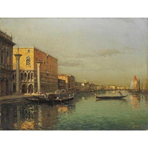 Marc Aldine (1882 - 1956) , veduta della piazzetta dal canal grande, venezia olio su tela