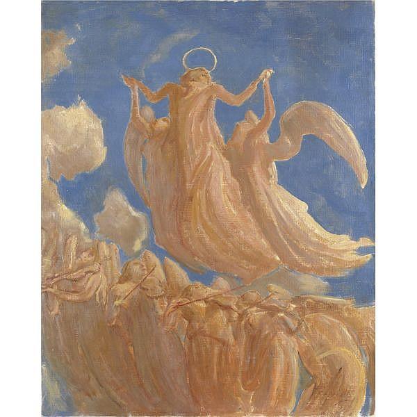 Gaetano Previati (Ferrara 1852 - Lavagna 1920) , assunzione olio su tela
