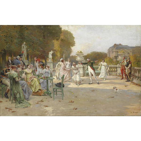 Alcide Théophile Robaudi (Nizza 1850 - Parigi 1928) , la moscacieca olio su tela