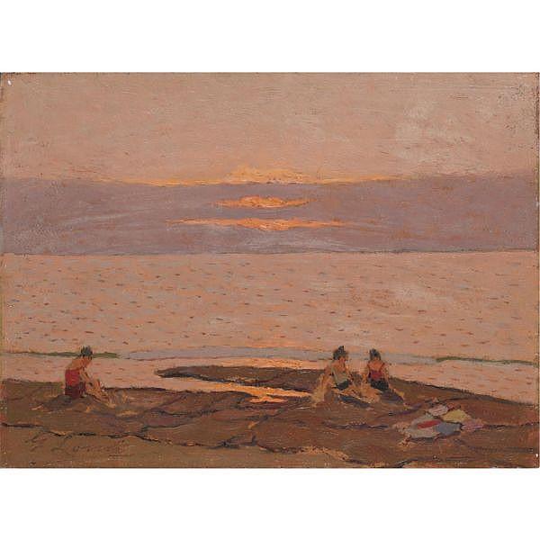m - Giovanni Lomi (Livorno 1889 - 1969) , tramonto olio su masonite
