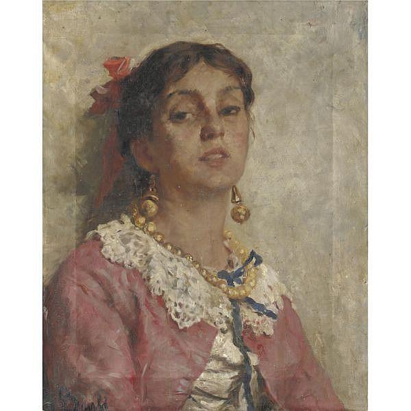 Gioacchino Banfi (Milano 1851 - Milano 1885) , fanciulla col fiocco rosso olio su tela
