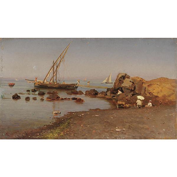 Federico Rossano (Napoli 1835 - 1912) , spiaggia di portici olio su tavola