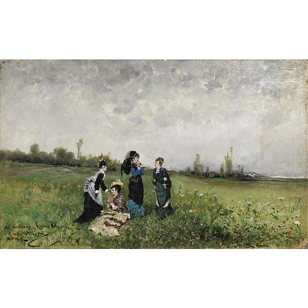 Carlo Pittara (Torino 1835 - Rivara Canavese 1891) , pomeriggio di sole in campagna olio su tela