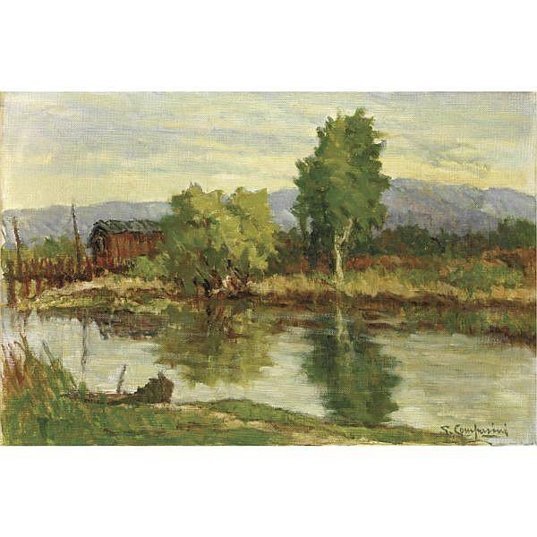 m - Giuseppe Comparini (Firenze 1894 - 1980) , passeggiata sull'argine olio su tela