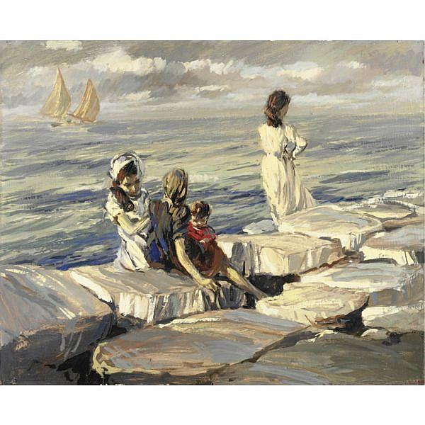 m - Ettore Tito (Castellamare di Stabia 1859 - Venezia 1941) , l'attesa olio su cartone pressato