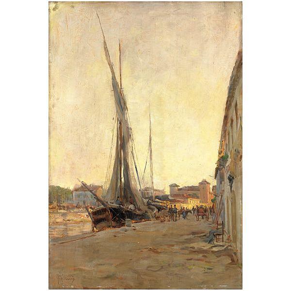 m - Carlo Follini (Domodossola 1848 - Pegli 1938) , barche a vela presso il porto olio su tavola