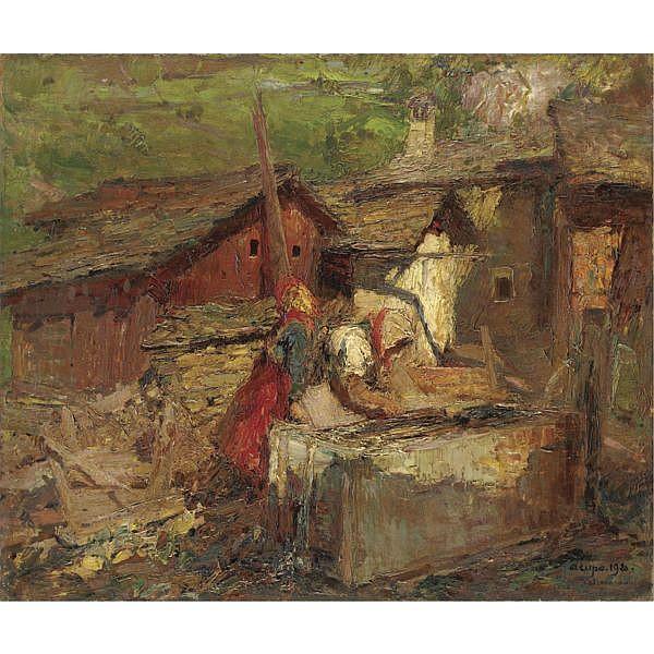m - Alessandro Lupo (Torino 1876 - 1953) , luci alpine olio su tela