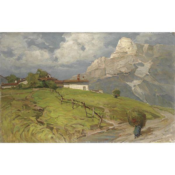m - Francesco Sartorelli (Cornuda 1856 - Udine 1938) , la raccolta del fieno olio su tela