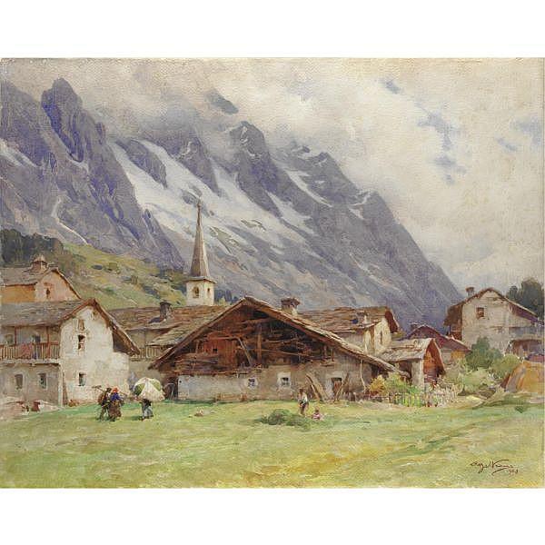 m - Achille Beltrame (Arzignano 1871 - Milano 1945) , courmayeur acquerello su carta, incorniciato