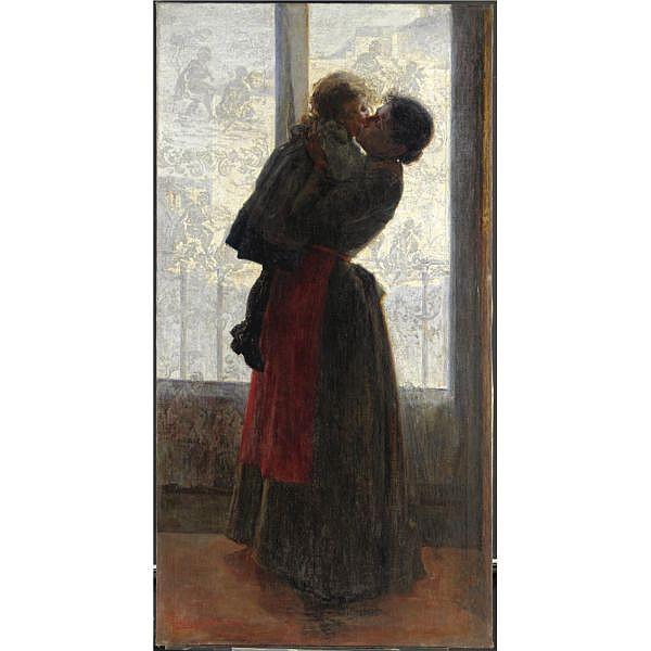 Giovanni Sottocornola (Milano 1855 - 1917) , gioie materne olio su tela