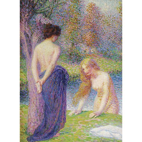 Hippolyte Petitjean , 1854-1929   FEMMES AU BAIN oil on canvas