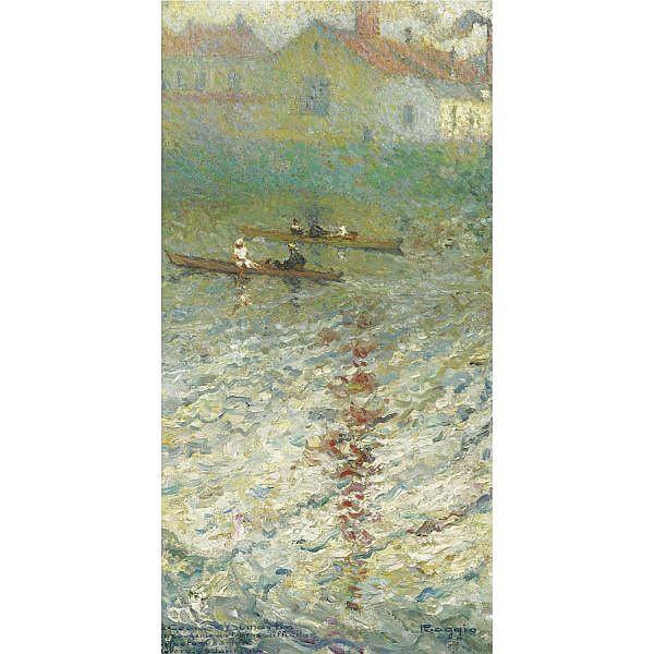 Emilio Boggio , 1857-1920 BARQUES SUR LE LAC oil on canvas