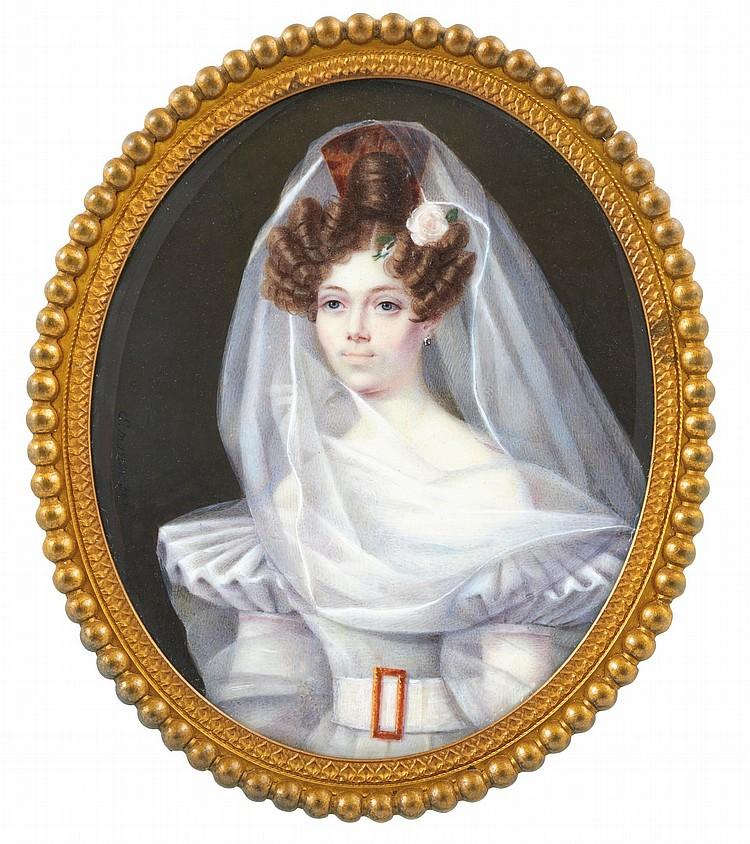 E*** MARTIN | Portrait de dame portant une robe et un voile blanc, vers 1830