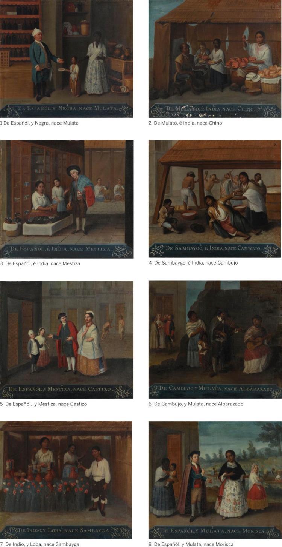 JOSÉ DE ALCIBAR | A Group of Eight Casta Paintings: (1) De Españól, y Negra, nace Mulata; (2) De Mulato, é India, nace Chino; (3) De Españól, é India, nace Mestiza; (4) De Sambaygo, é India, nace Cambujo; (5) De Españól, y Mestiza, nace Castizo; (6) De Cambujo, y Mulata, nace Albarazado; (7) De Indio, y Loba, nace Sambayga; (8) De Españól, y Mulata, nace Morisca