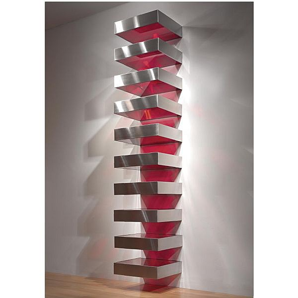 l - Donald Judd , 1928-1994 Untitled stainless steel and red fluorescent Plexiglas in ten units