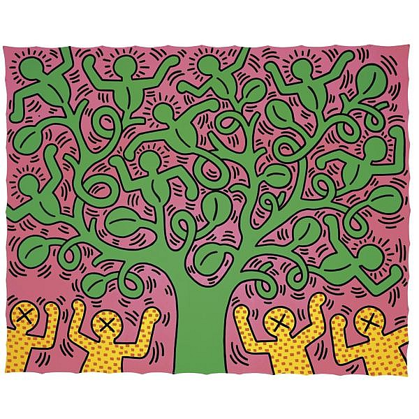 Keith Haring , 1958-1990 Tree of Life acrylic on canvas