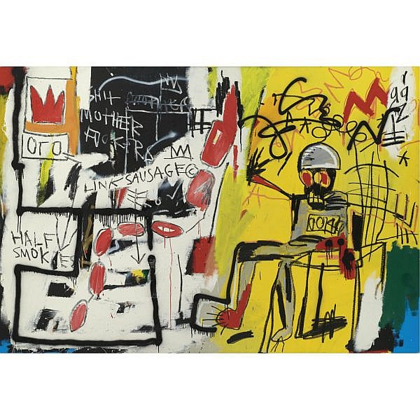 l - Jean-Michel Basquiat , 1960-1988 Untitled (Electric Chair) acrylic, gold spray paint and oilstick on canvas