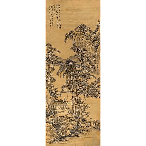 Zhang Zhiwan 1810-1897 , SCHOLAR UNDER THE PINE ink on gold-flecked paper, hanging scroll