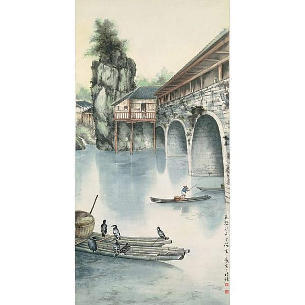 Huang Huanwu 1906-1985 , LIJIANG RIVER AT DAWN ink and colour on paper, hanging scroll