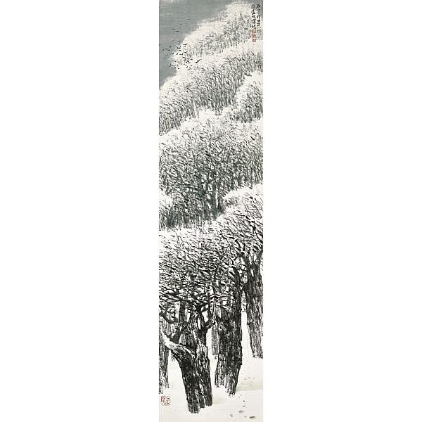 He Huaishuo (Ho Huai-shuo) b. 1941 , LANDSCAPE IN FOUR SEASONS ink and colour on paper, framed, set of four