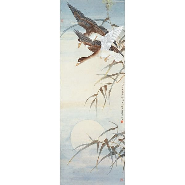 Chen Zhifo 1895-1962 , FLYING GEESE UNDER THE MOONLIGHT   ink and colour on paper, hanging scroll