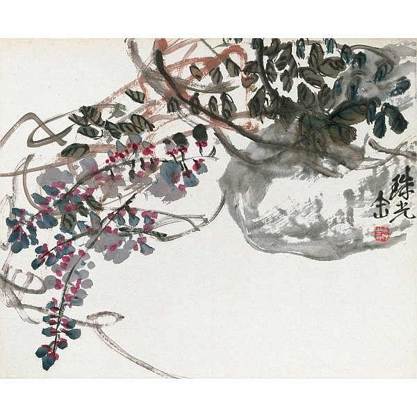Wu Changshuo 1844-1927 , BLOOMING FLOWERS   ink on paper; ink and colour on paper, album of eleven leaves