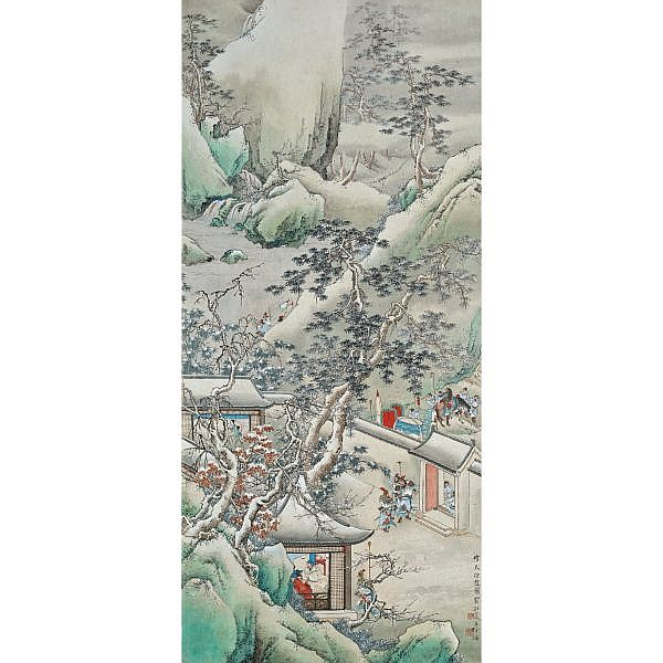 Xu Cao 1899-1961 , SNOWY DAY ink and colour on paper, hanging scroll