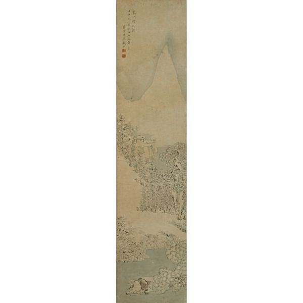 Qian Du 1763-1844 , FISHING BY SNOWY RIVER ink and light colour on paper, framed