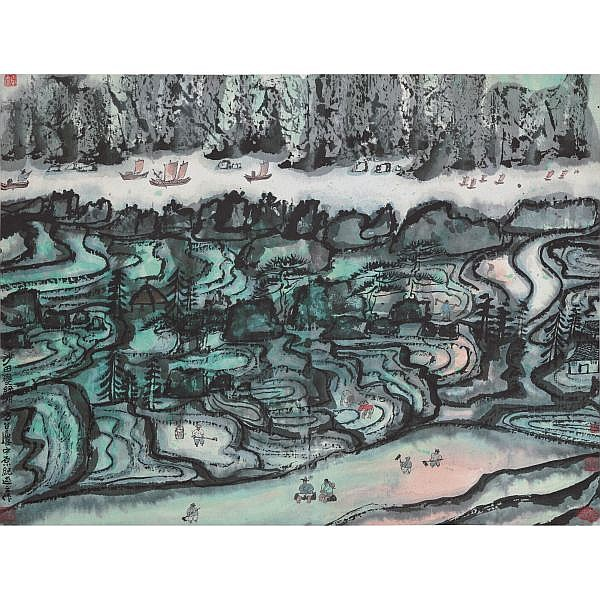Fang Zhaolin 1914-2006 , GREEN TERRACE   ink and colour on paper, framed