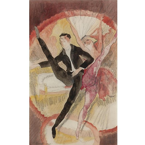 Charles Demuth 1883-1935 , In Vaudeville, Two Dancers watercolor and pencil on paper