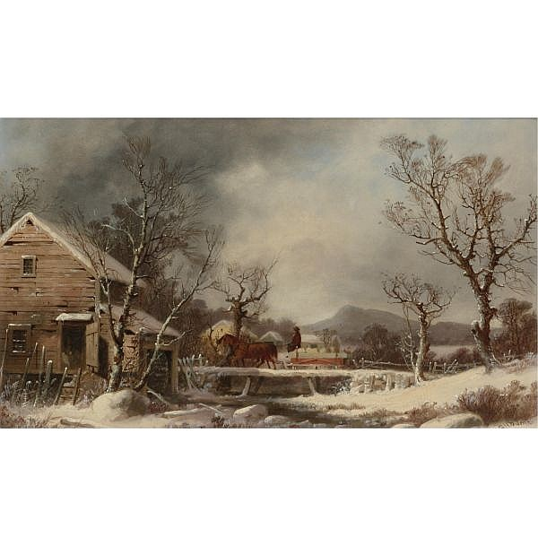 George Henry Durrie 1820-1863 , Winter: The Old Mill oil on board