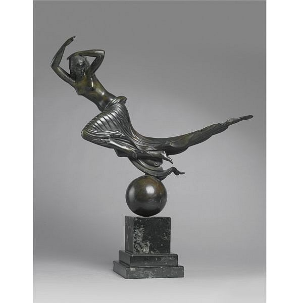 Paul Howard Manship 1885-1966 , Flight of Night bronze, dark greenish-brown patina