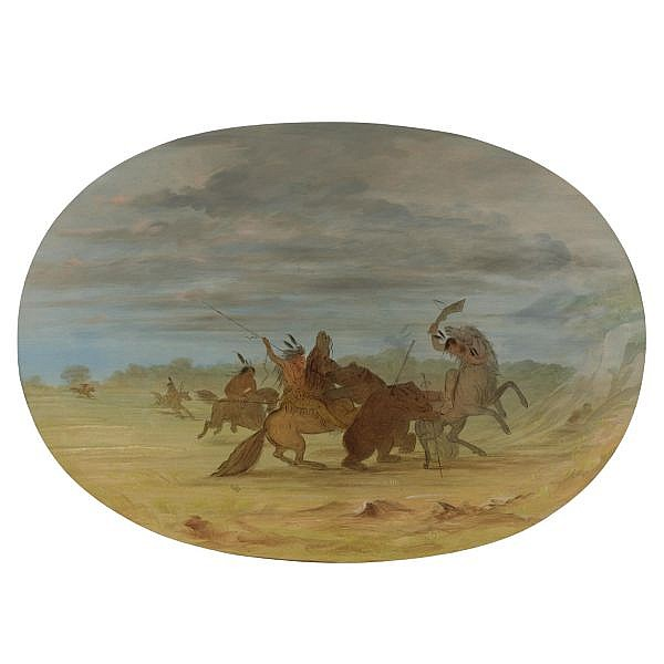 George Catlin 1796-1872 , Indians Hunting the Grizzly Bear oil on board