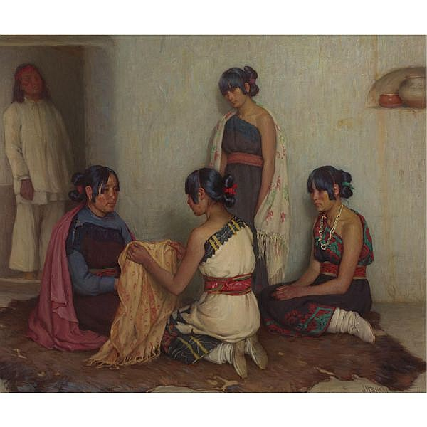 Joseph Henry Sharp 1859-1953 , Gift from Cochiti oil on canvas