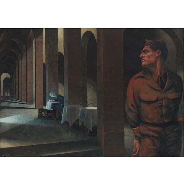 Paul Cadmus 1904-1999 , Notturno: Bologna egg tempera on gessoed panel