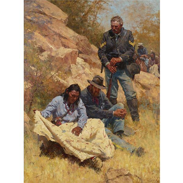Howard A. Terpning b. 1927 , War Stories oil on canvas