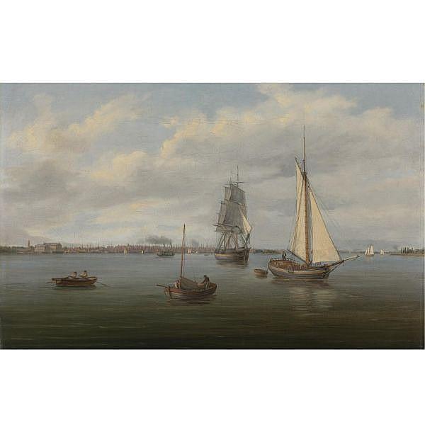 Thomas Birch 1779-1851 , Philadelphia from the Delaware River oil on canvas