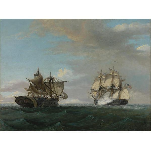 Thomas Birch 1779-1851 , USS United States vs. HMS Macedonian oil on canvas