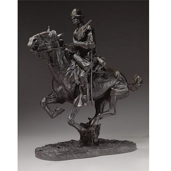 Frederic Remington 1861-1909 , Trooper of the Plains 1868 bronze, brown patina