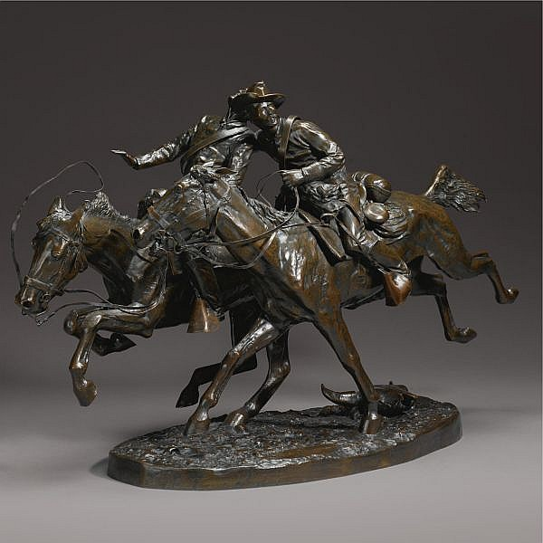 Frederic Remington 1861-1909 , The Wounded Bunkie bronze, reddish-brown patina