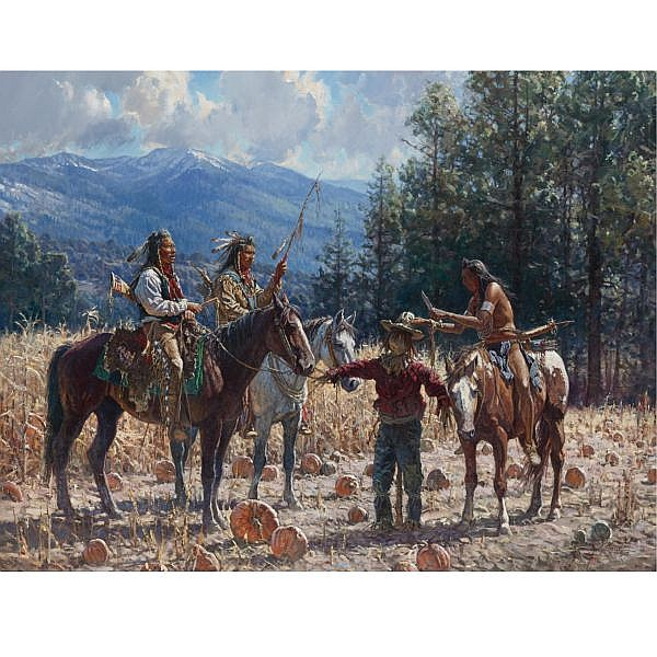 Martin Grelle b. 1954 , Crows in the Corn oil on canvas