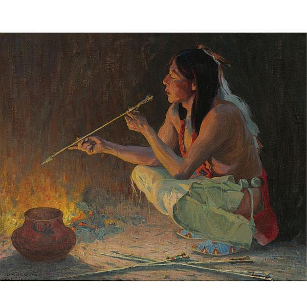 E. Irving Couse 1866-1936 , The Arrow Maker oil on canvas